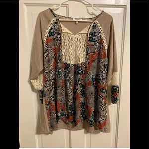 Umgee Lace Inset Print Blouse Size L Large